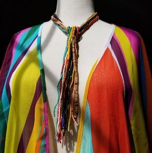 Colorful Beaded Tassel Necklace 18""